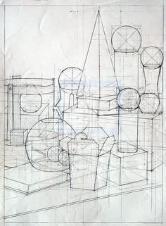 Still Life Sketch, Still Life Drawing, Structural Drawing, Technical Drawing, Drawing Lessons, Drawing Techniques, Contour Line Drawing, Sketch Free, Geometric Construction