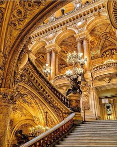 Art Deco Buildings, Unique Buildings, Beautiful Buildings, Architecture Old, Amazing Architecture, Architecture Details, Paris Opera House, Take The Stairs, Stairway To Heaven