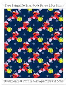 Free Navy Blue Star Large Elmo Gifts Pattern Paper - Sesame Street