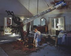 - Lot 260 - Gregory Crewdson B. 1962 UNTITLED (BEDROOM TREE) signed on a label affixed to the reverse digital c-print - by 152 cm. 48 by 60 in. Executed in this work is number 5 from an edition of Cinematic Photography, Film Photography, Fashion Photography, Contemporary Photography, Artistic Photography, Contemporary Art, Orlando Museum Of Art, Gregory Crewdson, Twilight Photos