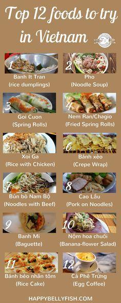 Top 12 foods to try in Vietnam: https://happybellyfish.com/top-12-foods-to-try-in-vietnam/ Что попробовать во Вьетнаме: 12 блюд национальной кухни: https://happybellyfish.com/ru/top-12-foods-try-vietnam/ vietnamesisches Essen, vietnamesisch kochen lernen, Rezepte