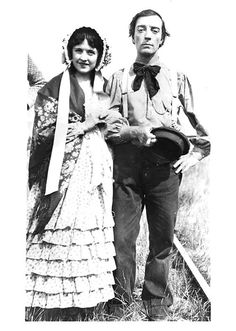 Marion Mack and Buster Keaton pose on the set of The General (1926).  Marion was born Joey Marion McCreery and had eight acting credits in her career, from a 1921 short to a 1928 short.  Marion also had four writing credits, for the scenario of a 1923 feature in which she also starred, and three shorts 1938-42.