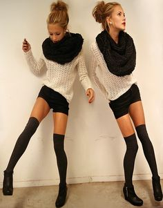 thigh high socks with shorts and chunky infinity scarf
