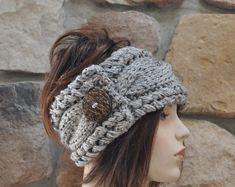 Gevlochten Earwarmer hoofdband Winter gekabelde Chunky oor warmer Kies kleur grijs marmer natuurlijke warme haar Band kerstcadeau