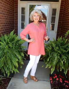 "Fifty, not Frumpy: ""What do you wear for everyday?"" This is my favorite look for ease and comfort during summer. In cooler weather, I will wear this tunic with a white tank and faded jeans."