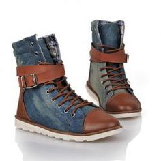 19.37 Casual Men s Jean Boots With Splicing Buckle and Lace-Up Design  Boots And Jeans 944affb0e7