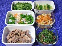常備菜 : 豚ロースの生姜焼き、青椒肉絲、パセリとハムと新玉ねぎのサラダ、人参とちくわのきんぴら、大根の葉の炒めもの、きゅうりの和えもの
