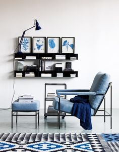 Blue living room, lounge chair and ottoman, interior design Interior Styling, Interior Decorating, Design Minimalista, House Design Photos, Blue Rooms, Dream Decor, Style At Home, Home Fashion, Interiores Design