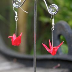 Origami Earrings  Traditional Crane  Deep Red by JojiCreations, $20.00