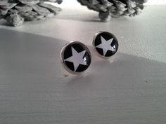 Ohrringe  mit Stern , schwarz weiß von rosa rot auf DaWanda.com