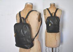 Leather Backpack Bookbag / black bag by badbabyvintage on Etsy