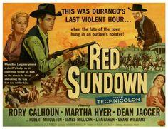 RED SUNDOWN (1956) - Rory Calhoun - Martha Hyer - Dean Jagger - Robert Middleton - James Millican - Lita Baron - Grant Williams - Directed by Jack Arnold - Universal-International - Movie Poster.
