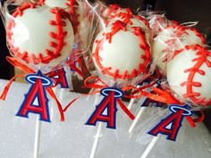Anaheim Angels baseball cake pops
