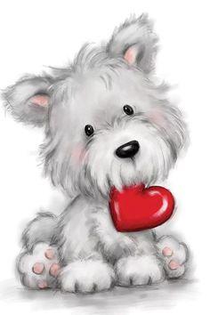 Dog Canvas Art by MAKIKO | iCanvas Canvas Artwork, Canvas Art Prints, Animals For Kids, Cute Animals, Animals Images, Valentines Art, Lesage, Print Artist, Cute Illustration