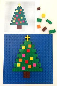 Lego Mosaics for Kids: 3 Printable Christmas Building Challenges 3 Christmas Themed Printable Lego Mosaic Patterns Lego Christmas Tree, Christmas Crafts For Kids To Make, Christmas Activities For Kids, Craft Activities For Kids, Christmas Printables, Beach Christmas, Fall Crafts, Christmas Holidays, Christmas Ornaments