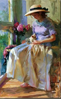 art.quenalbertini: Lady and Her Little Cat by Vladimir Volegov