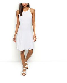 White Ribbed High Neck Swing Dress  | New Look