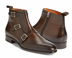 Brown Monk High Ankle Triple Buckle Strap Side Zipper Real Leather Boots US 7-16 - £123.59