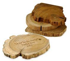 Live wood coasters with wood burning