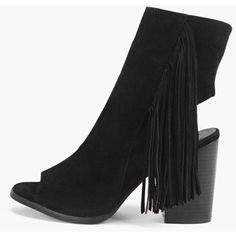 Boohoo Rose Tassel Side Peeptoe Shoe Boot ($32) ❤ liked on Polyvore featuring shoes, boots, ankle booties, black, black bootie, platform booties, black platform booties, black booties and black ankle boots