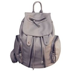 LUCLUC Gray Backpacks PU Zipper Expandable Bags (€44) ❤ liked on Polyvore featuring bags, backpacks, purses, bolsas, lucluc, day pack backpack, zip close bags, gray bag, expandable backpack and zipper bag