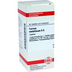 FERRUM METALLICUM D 6 Tabletten:   Packungsinhalt: 80 St Tabletten PZN: 02117083 Hersteller: DHU-Arzneimittel GmbH & Co. KG Preis: 5,64…