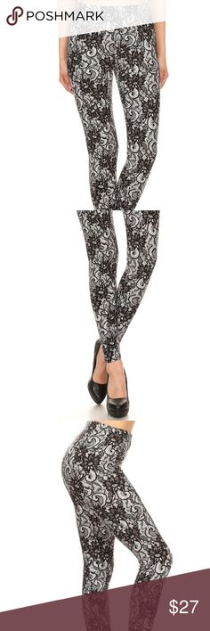 """Sexy Lace Print Leggings Fits Sizes 0 - 10 (May Fit Size 12 but Depends on Body Type) Colorful Lines Wrap Around the Entire Legging Body Flattering Contouring Design for Amazing Outfits Soft and Stretchy Buttery Fabric Comfort Elastic Waist 92% Polyester 8% Cotton Model is wearing One Size Measurements are 34B x 24 x 35 and height is 5' 8"""" Hand Wash or Professional Wash Pants Leggings"""