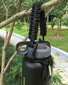 I just bought this and love it. Hydro Flask Handle – Paracord Survival Strap with Security Ring for Wide Mouth Water Bottles Carrier . you can see what others said about it here http://bridgerguide.com/hydro-flask-handle-paracord-survival-strap-with-security-ring-for-wide-mouth-water-bottles-carrier/