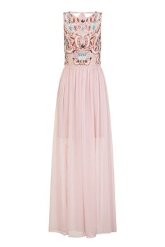 Pink Floral Embroidered Maxi Long Dress Sheer Prom Bridesmaid Gown 10 12 14 NEW
