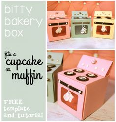 FREE cupcake box template & tutorial for added cuteness! When a friend or co-worker has a birthday, this show that they are special to you without your having to go overboard on a budget. Homemade birthday gifts, congratulations gifts, teachers gifts, thank yous, hostess gifts, party favors, etc.