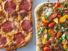Outside-the-Box Pizza Night : Pepperoni and fresh tomato basil salad topped pizzas from Food Network - FoodNetwork.com