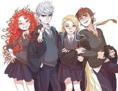 Hermione, draco, luna, neville.. Mérida, Jack, rapuncel, el de entrenando a mi dragón..