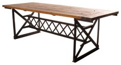 Riveter's Industrial Modern Chunky Wood Dining Table eclectic dining tables