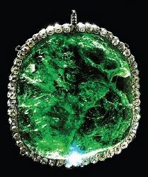 "Faberge emerald, only piece of Faberge kept by the Soviets from the Romanov jewels. It is ""palm sized."""