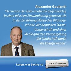 """AfD-Vize Alexander Gauland erklärt in seinem Gastbeitrag """"Neues Gleichgewicht"""", warum die Alternative für Deutschlands auch in die Landtage will. (Ausgabe 34/14)"""