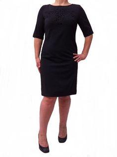 Danny & Nicole Dress,Trapeze Silhouette Perforated Neckline -Career Dresses-Women's-Megavybor.com [DAN129WD] - $69.00