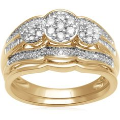 Forever Bride 1/2 Carat T.W. Baguette- and Round-Cut Diamond 10kt Yellow Gold Bridal Set