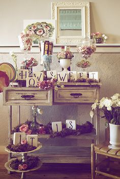 White Weathered Buffet Table.