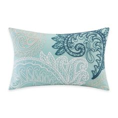 INK+IVY Mira Embroidered Oblong Throw Pillow in Blue - bed bath and beyond