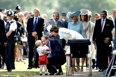 Bargaining: The Duke of Cambridge then stepped in to scoop up his son and carry him for the rest of the journey back to Sandringham House