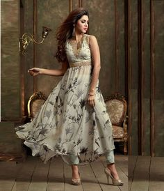 Off White Georgette Designer Anarkali Suit 61024