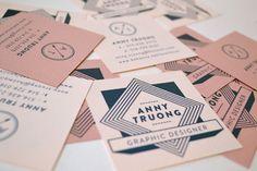 mini square business cards with retro design
