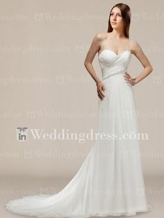 Strapless, slim line chiffon wedding gown with sweetheart neckline and corset closure. This style features flowing chiffon delicately edged with gorgeous lines of beaded embellishments through the bodice. Exquisite draping creates the magic of a soft sweeping train and finishes with corset closure.