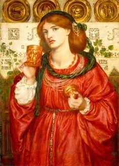 "The Loving Cup is one of the representative works of Rossetti's maturity. Both a poet and a painter, he drew his subject matter from the Bible, Greek mythology, Dante and Shakespeare in his creation of works filled with Romantic poetic sensibility that feature images of the ""femme fatale."" Rossetti, known also for his lively relationships with women, used his women friends and lovers as models to represent his own image in relationship to the heroines of stories. The model is Al..."