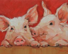 Pig Painting, 'Love is in the Air', 5x7 inch original impressionistic oil painting of two sweet pigs, paintings of pigs, pig art