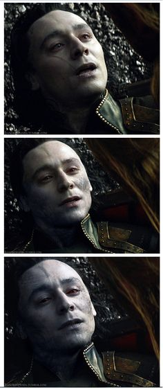 I wish they did something like this in the movie!! Loki's only hiding his Jotun form, right? So if he were to die, naturally his magic used to hide his form would deplete and his natural blue form would arise, right? OH LOKI ❤