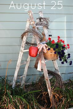 Old Ladder plant stand