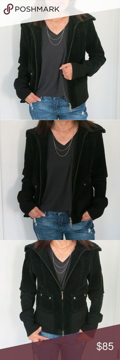 Elie Tahari Black Corduroy Jacket Chic and trendy Elie Tahari black corduroy jacket. The texture makes this different from ordinary jackets. Looks stylish open or closed so you can wear it with any of your outfits. Light fleece inside for added warmth without the bulkiness. Moved to California so won't be wearing it. In excellent condition as seen in pictures and from a smoke free and pet less home. Elie Tahari Jackets & Coats