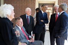 Presidents George H.W Bush, Jimmy Carter, Barack Obama, Bill Clinton and George W. American Presidents, Us Presidents, American History, George Bush Library, Museums In Dallas, Presidential Libraries, Presidential Trivia, Presidential History, George Santayana