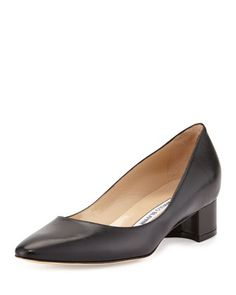 Listony+Leather+Low-Heel+Pump,+Black+by+Manolo+Blahnik+at+Bergdorf+Goodman.